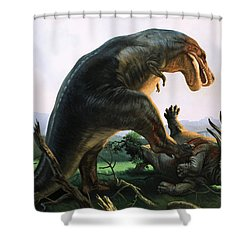 Tyrannosaurus Rex Eating A Styracosaurus Shower Curtain by William Francis Phillipps