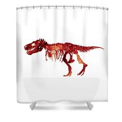 Tyrannosaurus Rex Skeleton Poster, T Rex Watercolor Painting, Red Orange Animal World Art Print Shower Curtain by Joanna Szmerdt