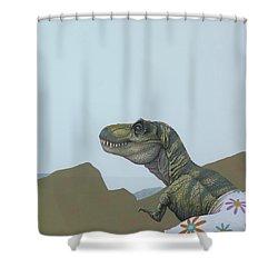 Tyranosaurus Rex Shower Curtain by Jasper Oostland