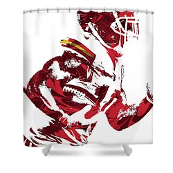 Shower Curtain featuring the mixed media Tyreek Hill Kansas City Chiefs Pixel Art 1 by Joe Hamilton