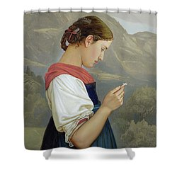 Tyrolean Girl Contemplating A Crucifix Shower Curtain by Rudolph Friedrich Wasmann
