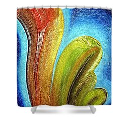 Shower Curtain featuring the mixed media Tzunami by Dragica  Micki Fortuna