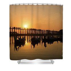 U Bein Bridge At Sunset Shower Curtain
