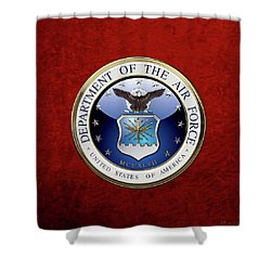 U. S.  Air Force  -  U S A F Emblem Over Red Velvet Shower Curtain by Serge Averbukh
