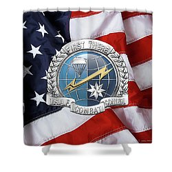 U. S.  Air Force Combat Control Teams - Combat Controller C C T Badge Over American Flag Shower Curtain by Serge Averbukh