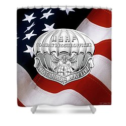 U. S.  Air Force Combat Rescue Officer - C R O Badge Over American Flag Shower Curtain by Serge Averbukh