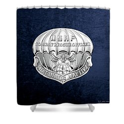 U. S.  Air Force Combat Rescue Officer - C R O Badge Over Blue Velvet Shower Curtain by Serge Averbukh