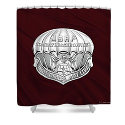 U. S.  Air Force Combat Rescue Officer - C R O Badge Over Maroon Felt Shower Curtain by Serge Averbukh