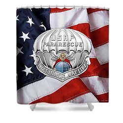 U. S.  Air Force Pararescuemen - P J Badge Over American Flag Shower Curtain by Serge Averbukh