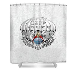 U. S.  Air Force Pararescuemen - P J Badge Over White Leather Shower Curtain by Serge Averbukh