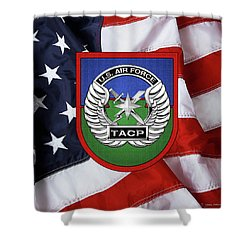 Shower Curtain featuring the digital art U. S.  Air Force Tactical Air Control Party -  T A C P  Beret Flash With Crest Over American Flag by Serge Averbukh