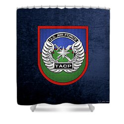 Shower Curtain featuring the digital art U. S.  Air Force Tactical Air Control Party -  T A C P  Beret Flash With Crest Over Blue Velvet by Serge Averbukh