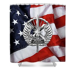 Shower Curtain featuring the digital art U. S.  Air Force Tactical Air Control Party - Usaf Special Tactics Tacp Badge Over American Flag by Serge Averbukh