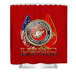 U. S. Marine Corps U S M C Emblem On Red Shower Curtain by Serge Averbukh