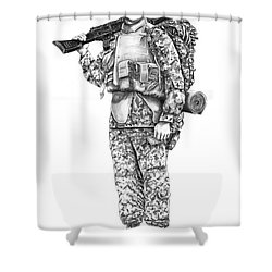 U S Marine Shower Curtain by Murphy Elliott
