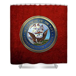 U. S.  Navy  -  U S N Emblem Over Red Velvet Shower Curtain by Serge Averbukh
