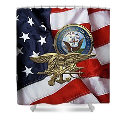 U. S. Navy S E A Ls Trident Over American Flag  Shower Curtain