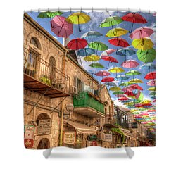 Umbrellas Over Jerusalem Shower Curtain