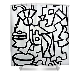 Ufo Creative Intelligence By Robert R Print Original Abstract Painting Modern Art Shower Curtain