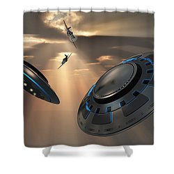 Ufos And Fighter Planes In The Skies Shower Curtain by Mark Stevenson