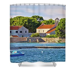 Ugljan Island Village Old Church And Beach View Shower Curtain