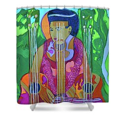 Shower Curtain featuring the painting Ukulele Four Strings by Denise Weaver Ross
