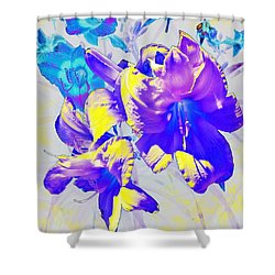 Shower Curtain featuring the photograph Ultraviolet Daylilies by Shawna Rowe