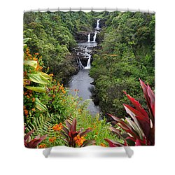 Umauma Falls Shower Curtain by Denise Bird