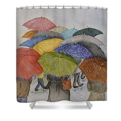 Umbrella Huddle Two Shower Curtain by Kelly Mills
