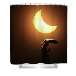 Umbrella Man Eclipse Shower Curtain