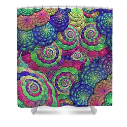 Umbrellas And Shells Shower Curtain