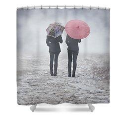Umbrellas In The Mist Shower Curtain by Joana Kruse