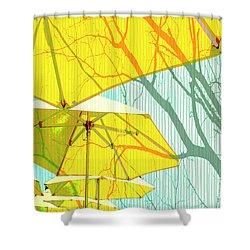 Umbrellas Yellow Shower Curtain