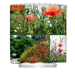 Umbrian Red Poppy Collage Shower Curtain