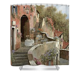 Un Caffe Al Fresco Sulla Salita Shower Curtain by Guido Borelli