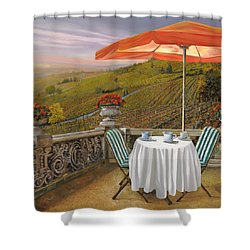 Un Caffe Shower Curtain by Guido Borelli