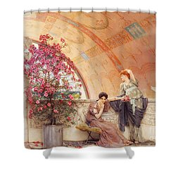 Unconscious Rivals Shower Curtain by Sir Lawrence Alma Tadema