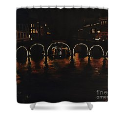 Under A Lighted Bridge In Amsterdam Shower Curtain