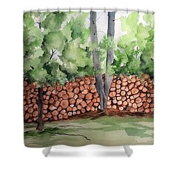 Under Hill Rd. Woodpile Shower Curtain