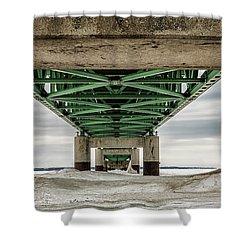 Shower Curtain featuring the photograph Under Mackinac Bridge Winter by John McGraw