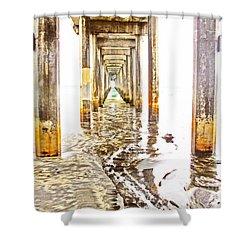 Under Scripps Pier Shower Curtain