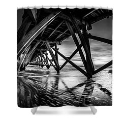 Under Sea Cabin Pier At Sunset Shower Curtain