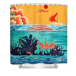 Bright Coral Reef Shower Curtain