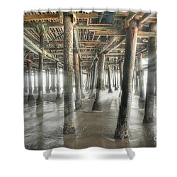 Shower Curtain featuring the photograph Under The Boardwalk Into The Light by David Zanzinger
