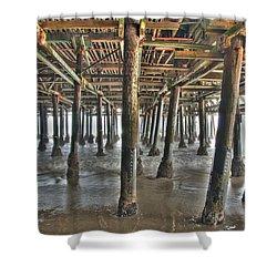 Shower Curtain featuring the photograph Under The Boardwalk Pier Sunbeams  by David Zanzinger