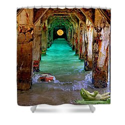 Shower Curtain featuring the painting Under The Broadwalk by Mojo Mendiola