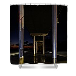 Shower Curtain featuring the photograph Under The Ocean Beach Pier At Sunste by James Sage