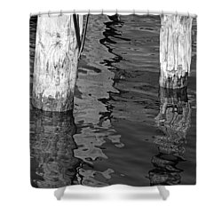 Under The Old Dock Bw Shower Curtain