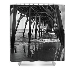 Under The Pier At Myrtle Beach Shower Curtain by Kelly Hazel