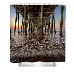 Shower Curtain featuring the photograph Under The Pier At Old Orchard Beach by Rick Berk